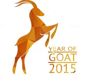 Chinese-new-year-2015-goat-with-golden-geometric-pattern